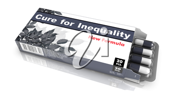 Cure for Inequality - Gray Blister Pack Tablets Isolated on White.