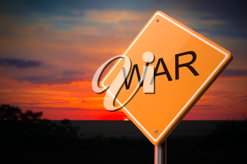 War on Warning Road Sign on Sunset Sky Background.