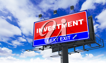 Investment - Red Billboard on Sky Background. Business Concept.