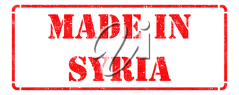 Made in Syria- inscription on Red Rubber Stamp Isolated on White.