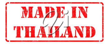 Made in Thailand- inscription on Red Rubber Stamp Isolated on White.