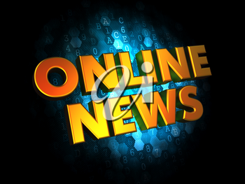 Online News - Gold 3D Words on Dark Digital Background.