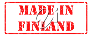 Made in Finland- inscription on Red Rubber Stamp Isolated on White.