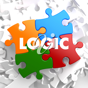 Logic on Multicolor Puzzle on White Background.
