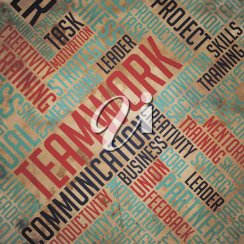 Teamwork Background - Wordcloud Concept on Old Paper.
