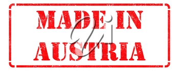 Made in Austria - inscription on Red Rubber Stamp Isolated on White.