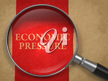 Economic Pressure through Magnifying Glass on Old Paper with Red Vertical Line.