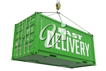 Fast Delivery - Green Cargo Container hoisted with hook Isolated on White Background.