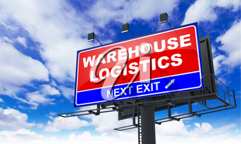 Warehouse Logistics - Red Billboard on Sky Background. Business Concept.