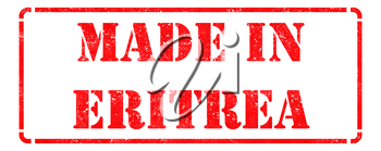 Made in Eritrea - Inscription on Red Rubber Stamp Isolated on White.
