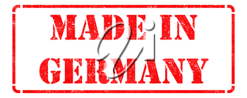 Made in Germany - Inscription on Red Rubber Stamp Isolated on White.