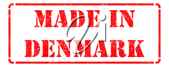 Made in Denmark - Inscription on Red Rubber Stamp Isolated on White.