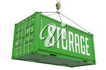 Storage - Green Cargo Container hoisted with hook Isolated on White Background.