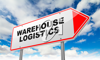 Warehouse Logistics - Inscription on Red Road Sign on Sky Background.