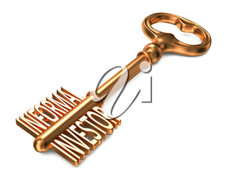 Informal Investor - Golden Key on White Background. Business Concept.