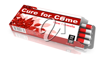 Cure for Crime - Orange Open Blister Pack Tablets Isolated on White.