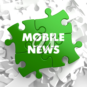 Mobile News on Green Puzzle on White Background.