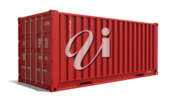 Red Container Isolated on White Background. Transportation Concept.