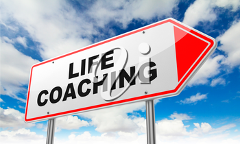 Life Coaching Inscription on Red Road Sign on Sky Background.