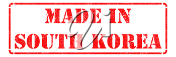 Made in South Korea - Red Rubber Stamp Isolated on White.