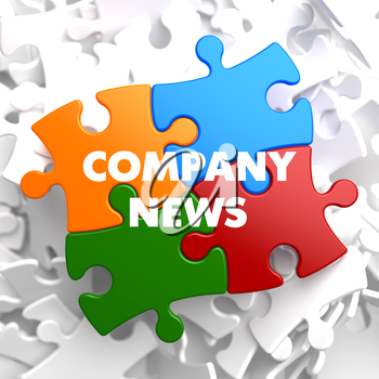 Company News on Multicolor Puzzle on White Background.