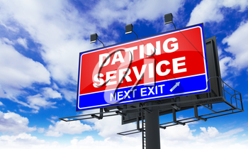 Dating Service - Red Billboard on Sky Background. Business Concept.