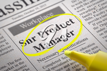 Snr Product Manager Vacancy in Newspaper. Job Search Concept.
