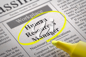 Human Resources Manager Vacancy in Newspaper. Job Search Concept.