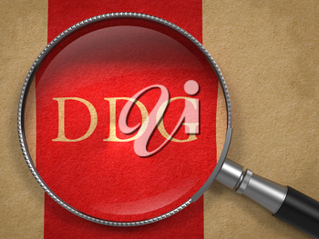 DDG through Magnifying Glass on Old Paper with Red Vertical Line.