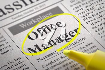 Office Manager Jobs in Newspaper. Job Search Concept.