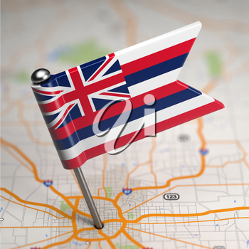 Small Flag of Hawaii on a Map Background with Selective Focus.
