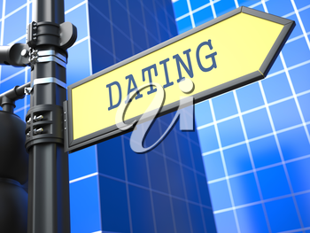 Dating - Signpost on Blue Background of a Modern Building.