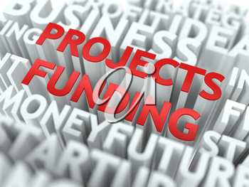 Projects Funding - Red Word on White Wordcloud Concept.