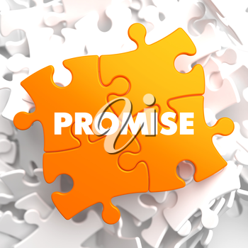 Promise on Yellow Puzzle on White Background.
