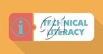 Technical Literacy Button in Flat Design with Long Shadows on Blue Background.
