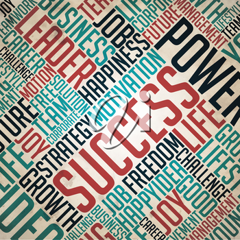 Success - Retro Word Collage on Old Paper.