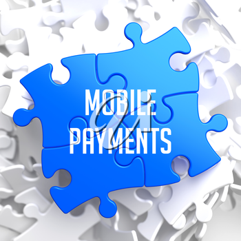 Mobile Payments on Blue Puzzle on White Background.