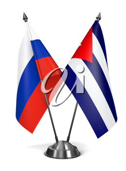 Russia and Cuba - Miniature Flags Isolated on White Background.