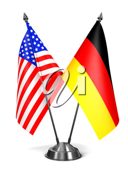 USA and Germany - Miniature Flags Isolated on White Background.