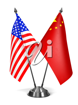 USA and China - Miniature Flags Isolated on White Background.