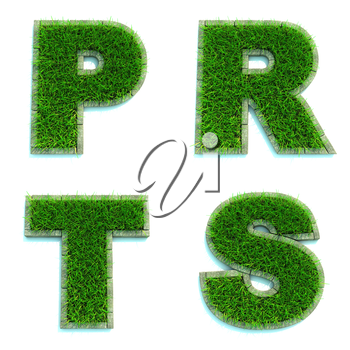 Letters P, R, T, S - Alphabet Set of Green Grass Lawn on White Background in 3d.