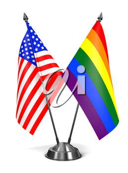 USA and Rainbow Gay Pride - Miniature Flags Isolated on White Background.