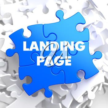 Landing Page on Blue Puzzle on White Background.
