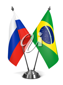 Russia and Brazil - Miniature Flags Isolated on White Background.