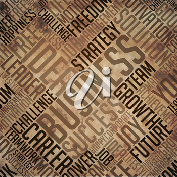 Business - Grunge Printed Word Collage in Brown Colors on Old Fulvous Paper.