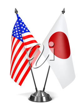 USA and Japan - Miniature Flags Isolated on White Background.