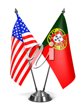 USA and Portugal - Miniature Flags Isolated on White Background.
