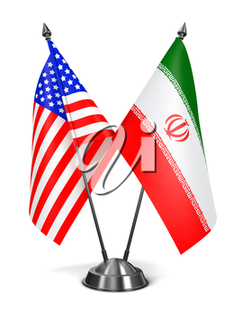 USA and Iran - Miniature Flags Isolated on White Background.