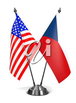 USA and Czech Republic - Miniature Flags Isolated on White Background.