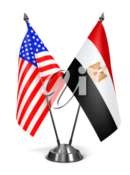 USA and Egypt - Miniature Flags Isolated on White Background.